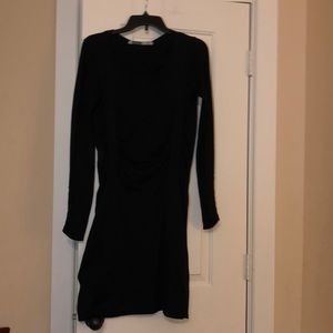 Athleta sweater dress ruched gathered black S